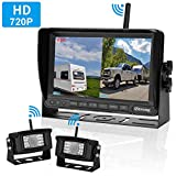 iStrong Upgraded Dual Digital Wireless Backup Camera for RV/Trailer/Truck/Bus 7''Monitor Recorder Rear/Front View Driving/Reversing Use Stable Signals High-Speed Observation System Guide Lines ON/OFF