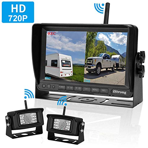 iStrong Upgraded Dual Digital Wireless Backup Camera for RV/Trailer/Truck/Bus 7''Monitor Recorder Rear/Front View Driving/Reversing Use Stable Signals High-Speed Observation System Guide Lines ON/OFF ()
