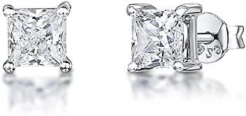 JOOLS by Jenny Brown ®- Sterling Silver Small Square Stud Earrings- With 'Princess' Cut Cubic Zirconia Stones IMUAKjjr