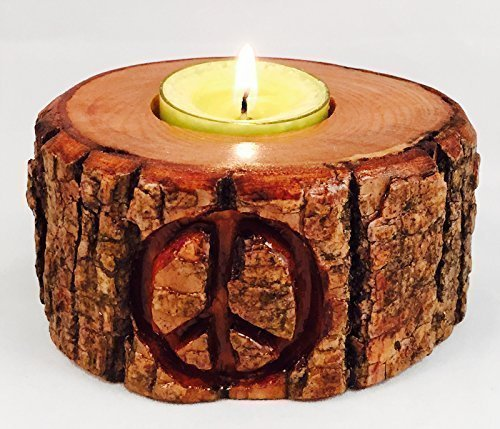 Peace Sign Hand Carved Wood TeaLight Candle Holder