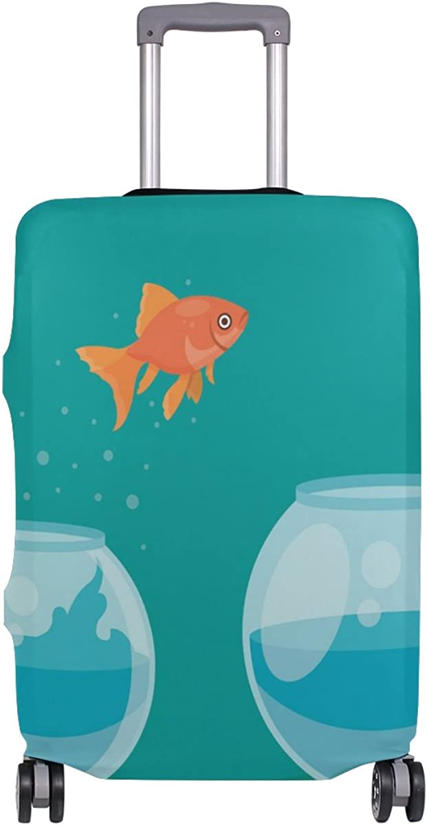 Goldfish Jump Travel Luggage Cover Stretchable Pulling Cloth Suitcase Protector Fits 18-20 Inches Luggage