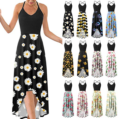 Women's Dress, Fashionable Casual v-Neck Sleeveless Halter Strapless Sexy Printed Dress(Black-13,XL)