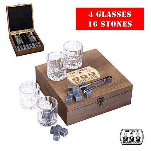 Whiskey Stones and Glasses Gift Box - 4 Large Irish Cut Glasses + 16 Granite Stones - Gift for Brother, Dad, Husband, Father's Day, Groomsman Gift, Firefighter, etc, ideal for Scotch, Bourbon