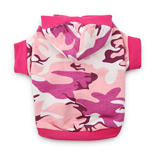 DroolingDog Dog Clothes for Girl Camo Dog Hoodie Pink Dog Shirts for Small Dogs, Small, (Camo Dog Hoodie Clothes)