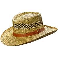Dorfman Pacific Mens Rush Straw Lightweight Casual Wide Brim Gambler Hat fb28090facc6