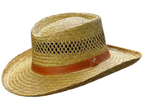 Dorfman Pacific Gambler Rush Straw Kangaroo Cowboy Hat (Natural Brown, Large)