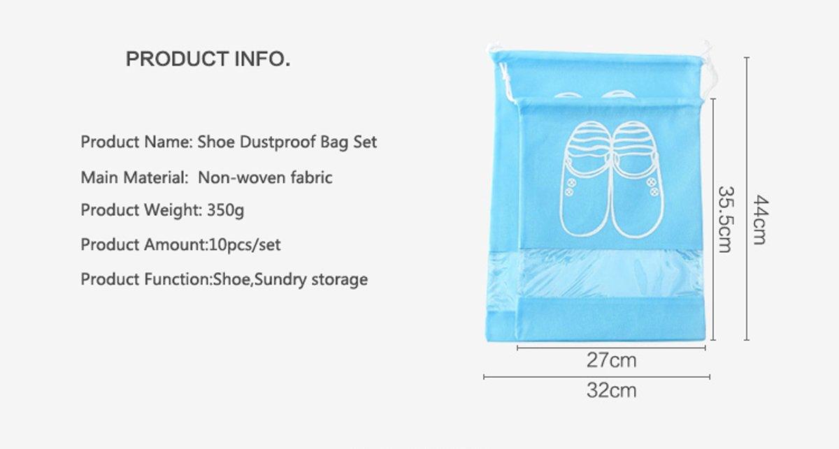 UQueen 10 pcs Travel Transparent Dustproof Non-woven Fabrics Drawstring Multifunctional Shoe Storage Bag Case Organizer with Visual Window(5 Large Size + 5 Medium Size,Pink)