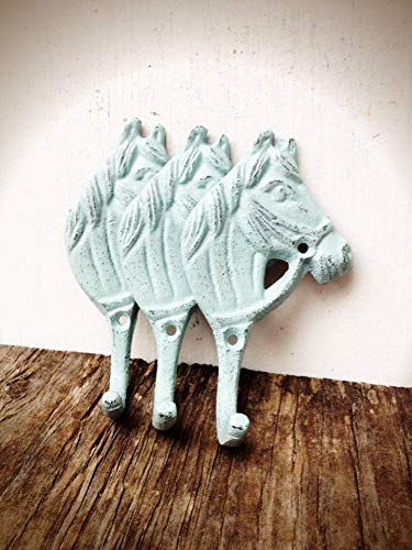 (Modern Farmhouse Style Horse Wall Hooks - Rustic Entryway Storage for Coats and Keys - Home Décor in Sea Foam Blue)
