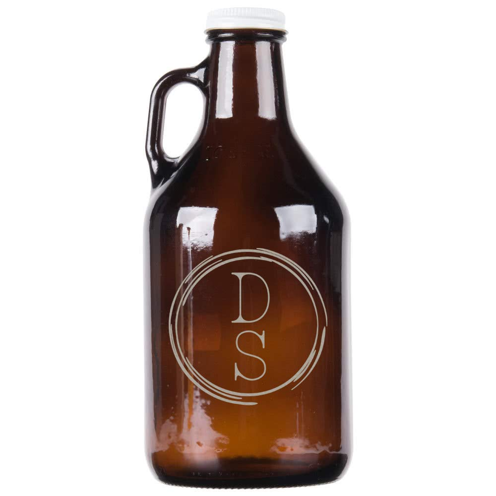 Personalized Etched Monogram 32oz Amber Growler