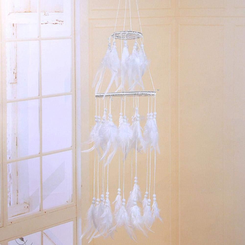 Attrapeur de R/êves Blanc Bricolage /à la Main Pendentif Carillon /Éolien Innovateur Indien Couche Double Plume Blanche Attrape R/êve Cadeaux Pendentif Suspension /à la Maison