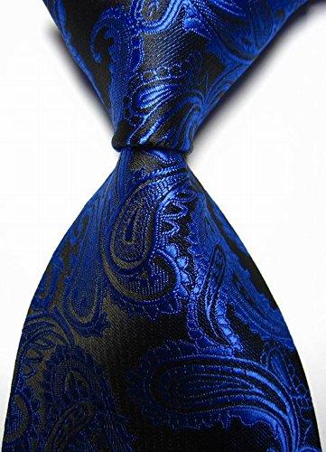 EXT Collectino 100% Silk Necktie, New Classic Paisleys Blue Black Tie JACQUARD WOVEN Men's Suits Ties