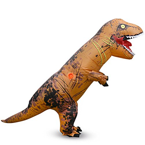 THE SAFETY ZONEY Inflatable Dinosaur Costume Adult Size -Blow Up T-Rex Dino Large Adult Dinosaur Inflatable Costume With Exclusive Drawstring Bag (brown)