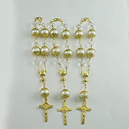 First Communion Crystal Pearl Decade Rosary Favors for Boy and Girl- Recuerdos Primera Comunion /Decenarios (12pcs pack)