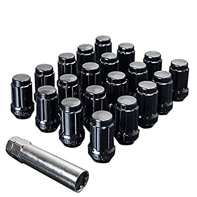 UPGR8 S-Series 20 Pieces Steel Closed Ended Wheel Lug Nuts with Key (M12 X 1.25MM, Black): Automotive