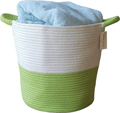 """Apajou Large Cotton Rope Basket (12.5"""" x 16"""" x 15"""") - Round Woven Storage Organizer Baby Basket Bin with Sturdy Handles - for Blankets, Toys, Laundry, Nursery, and More"""