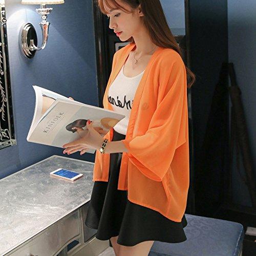 Blusa Tinta Elegante Sottile Cardigan Lunga Cute Chiffon Unita Estate Top Casual Sciolto Traspirante Moda Manica Chic Giallo Donna xwaIE6Aqw