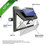 Solar Outdoor Patio Deck Lights 48 LED - Outside Motion Sensor Security Sun Powered Lighting For Yard, Backyard, Pathway, & Driveway | Wide Angle