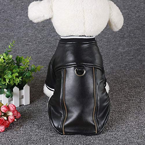 PanDaDa Pet Dog Coat PU Leather Waterproof Clothes Dog Warm Keeping Jacket