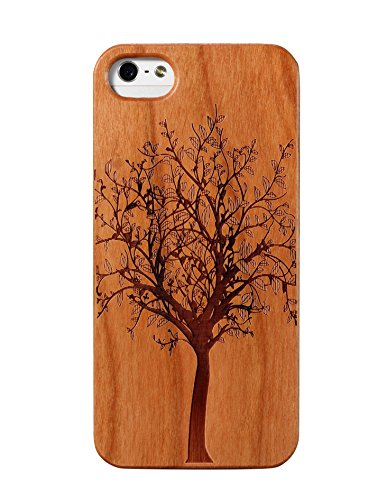JuBeCo2016 New Pattern iPhone 5/5S Wooden Case, Genuine Bamboo Wood Case for iPhone 5/5S - Handmade Wood (Tree Cherry) (Iphone 5s Case Elephant Wood)