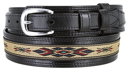 Mens Genuine Leather Ranger Belt with Southwestern Woven Diamond Pattern Accent (40 Black)