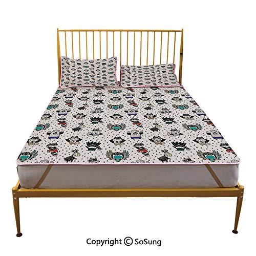 Superhero Creative Queen Size Summer Cool Mat,Animal Owl Dear Fox Cat Penguin Raccoon Bear in Superhero Costumes Print Sleeping & Play Cool Mat,White Seal Brown -