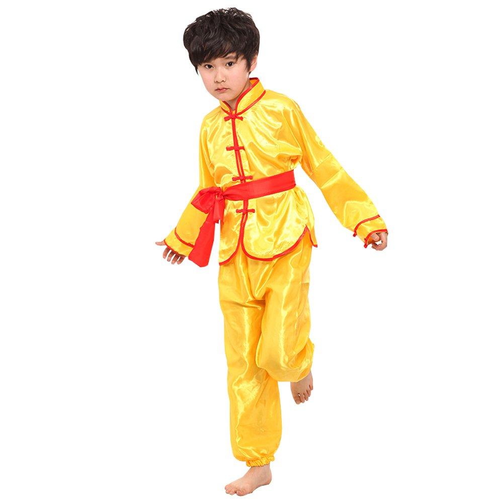 KINDOYO Mangas Largas Unisex Niños Traje de Artes Marciales Kung Fu Uniformes Ropa De Tai Chi Disfraces, Blanco