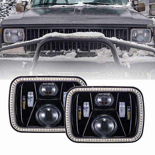 Z-OFFROAD 2019 New 5x7 7x6 LED Headlights with Turn Signal Amber DRL White Halo Sealed Beam Headlamp H6054 6054 Led Headlight for Jeep Wrangler YJ Cherokee XJ H5054 H6054LL 6052 6053 Black,2pcs