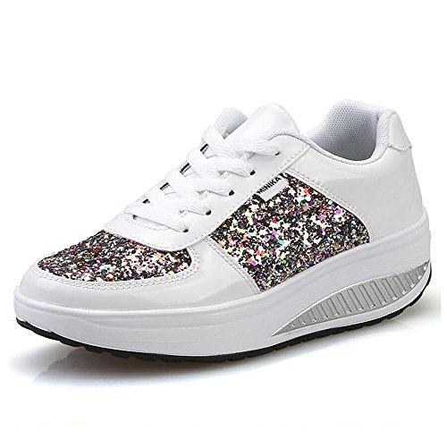 Minceur 3 Chaussures Plate Marche Femmes blanc Aptitude Sneakers Wedges Baskets amp; Qzbaoshu forme P5qUExZE