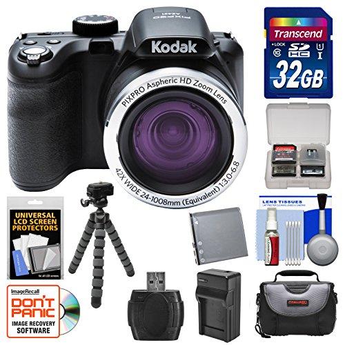KODAK PIXPRO AZ421 Astro Zoom Digital Camera with 32GB Card + Case + Battery/Charger + Flex Tripod + Kit by Kodak
