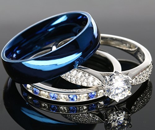 amazoncom his and hers 925 sterling silver blue saphire stainless steel wedding rings set blue sp24blmsbl size men 10 women 10 jewelry - Blue Wedding Ring Set