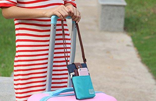 IBLUELOVER Phone Tasche Nylon Schultertasche Handy Geldbörse multifunktionale Handytasche mit Vielen Fächern Dokumententasche Reisepass-Paket für Reise Freizeit Helleblau und Dunkelblau
