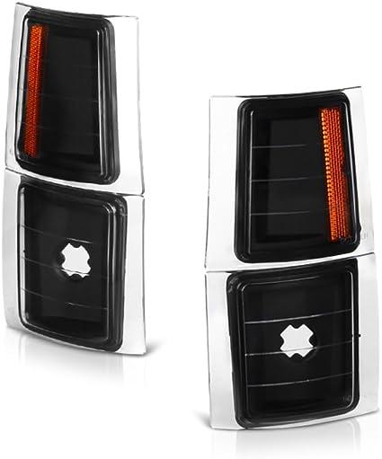 For Chevy C//K Series Suburban Silverado Pickup Turck Black Bezel Bumper Turn Signal Light Lamp Assembly