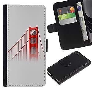 KingStore / Leather Etui en cuir / Apple Iphone 5 / 5S / San Francisco Puente Rojo Usa Mist Naturaleza Niebla