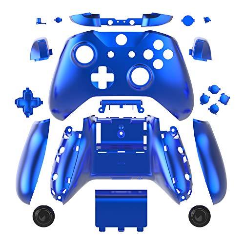 - WPS Chrome Color Case Housing Full Shell Set Faceplates + ABXY Buttons + RB LB Bumpers + Right/Left Rails for Xbox One S Slim (3.5 mm Headphone Jack) Controllers (Chrome Blue)