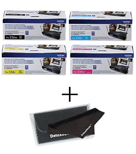 Brother TN336 High Yield Toner Set BCYM HL-L8250CDN HL-L8350CDW HL-L8350CDWT MFC-L8600CDW MFC-L8850CDW + DeluxeDeals MicroFiber LCD Screen Cleaning Cloth by Brother