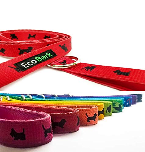 Gentle Leader Dog Puppy - EcoBark Comfort Dog Leash-Eco-Friendly Gentle Leader Padded Durable Heavy Duty Strap, Padded Handle for Pulling, Bright Colors - Leash Lead for Full Control When Dog Training and Walking (Red)