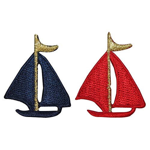 ID 1884AB Set of 2 Ship Patches Sailboat Nautical Embroidered Iron On Applique