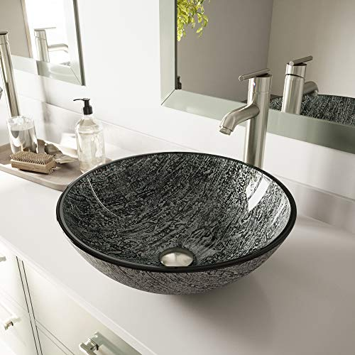 - VIGO VG07050 Glass Above counter Round Bathroom Sink, 16.5 x 16.5 x 6 inches, Black And Silver / Titanium