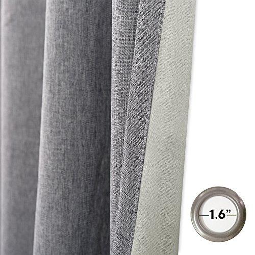 jinchan Faux Grommet Room Curtains Linen Living Room Curtain