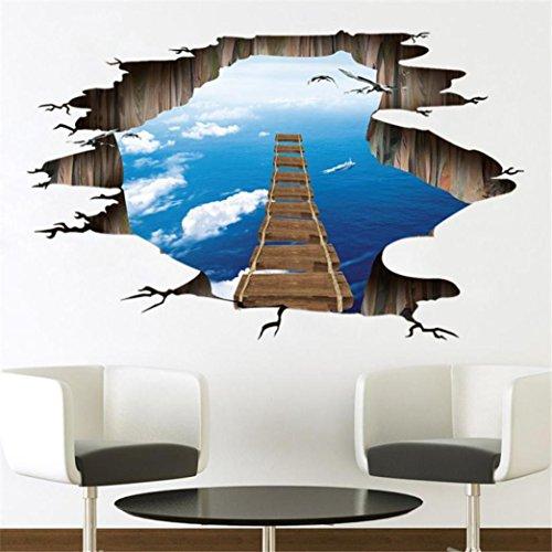 Sunsee 3D Sky Series Floor Wall Sticker Removable Mural Decals Vinyl Art Room Decor