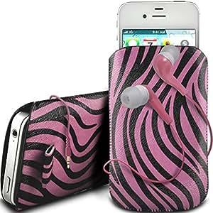 Online-Gadgets UK - Samsung Galaxy S4 i9500 protector cuero de la PU de la cebra Diseño tirón del cable de deslizamiento ficha en caso de la bolsa con cierre rápido y 3.5mm Auriculares ergonómicos - Rosado