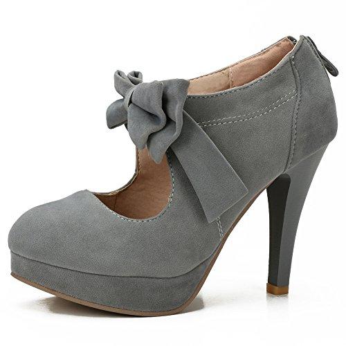 fereshte Women's Girls' Platform High Heels Wedding Pumps Shoes with Bowknot Gray - Heels High 2