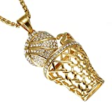 SINLEO Men's Hip Hop Iced Out Diamond Mini Basketball Rim Pendant Charms Stainless Steel Necklace 24 Inch Chain Number 23 Gold