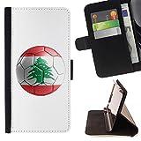STPlus Lebanon Lebanese Soccer Football Ball Flag Wallet Card Holder Cover Case for Apple iPhone 6 Plus / iPhone 6S Plus