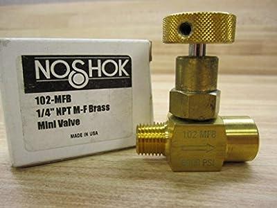 """NOSHOK 100 Series Brass Hard Seat Mini Needle Valve, 1/4"""" NPT Male x 1/4"""" NPT Female, 6000 psi Pressure Range by NOSHOK, Inc."""