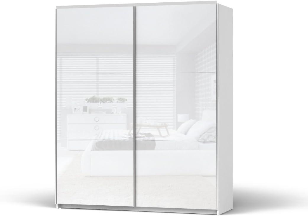 Smartbett GmbH - Armario ropero con puertas correderas, 183 cm de ancho, color blanco brillante: Amazon.es: Hogar