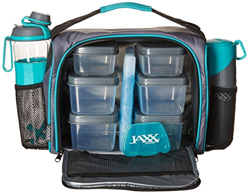 Fit & Fresh JAXX FitPak Deluxe Meal Prep Bag with Portion Control Container Set, Handy Snack Container, 24-oz. Active Water Bottle/Shaker and Ice Pack, ()