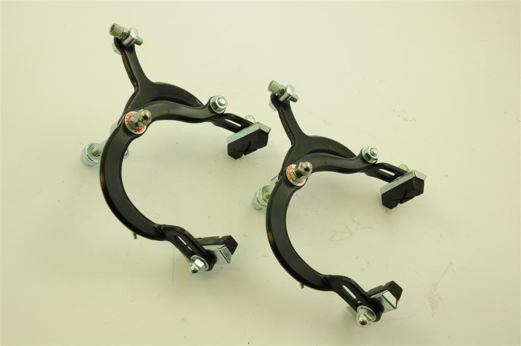 PAIR OF BMX BLACK BRAKE CALIPERS ALSO SUITS KIDS ADULT BIKES OR ANY WIDE TYRE BIKE SET OF CYCLE CALLIPERS PCM