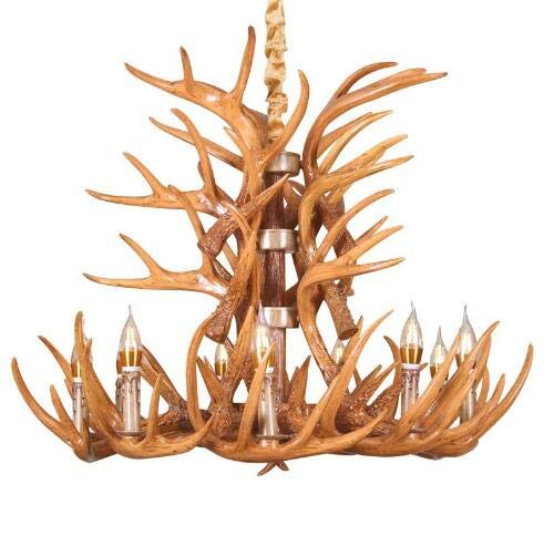 American Rustic Staghorn Chandelier Creative bar Hotel Restaurant Cafe Vintage Industrial Style Staghorn Resin Lamps (Yellow) (Miserable At Best Meaning)