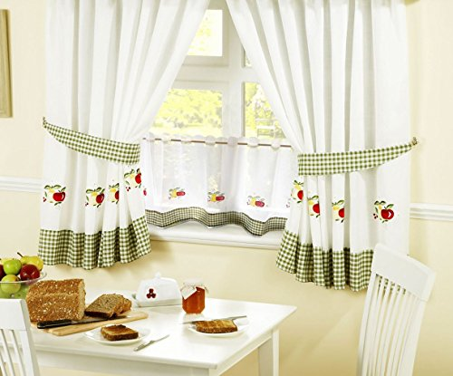Amazon Com Apples Pears Gingham Kitchen Curtain 46 X 42 24